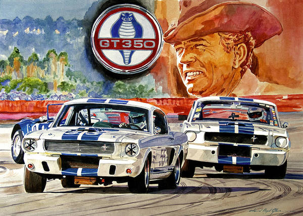 Shelby Artwork Art Print featuring the painting The Thundering Blue Stripe Gt-350 by David Lloyd Glover
