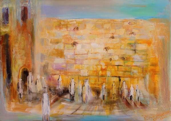 Modern Jewish Art Art Print featuring the painting The Western Wall by Elena Kotliarker