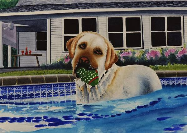 Dog Art Print featuring the painting Time For A Break by Joy Bradley