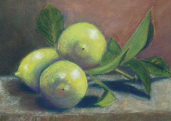 Lemons Art Print featuring the painting Trio Of Lemons by Ellen Minter