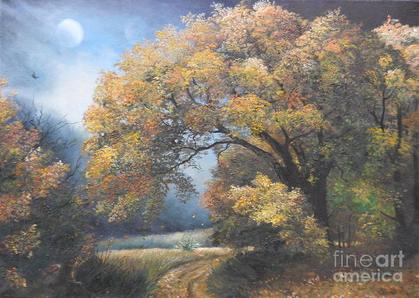 Autumn Art Print featuring the painting Under The Moonlight by Sorin Apostolescu