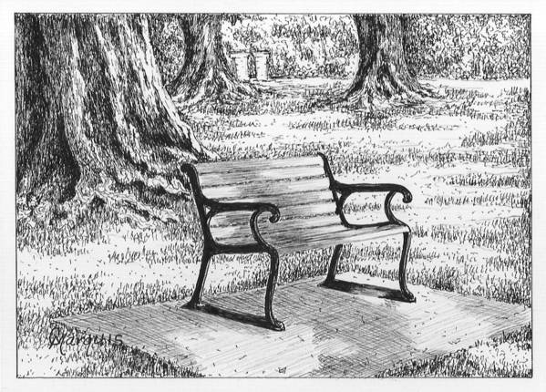 Bench Art Print featuring the drawing Under The Oaks by Colleen Marquis