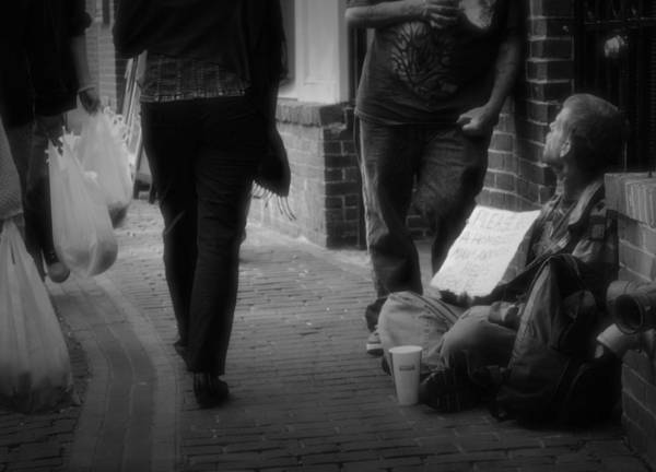 Homeless Art Print featuring the photograph Walk On By by Nadalyn Larsen