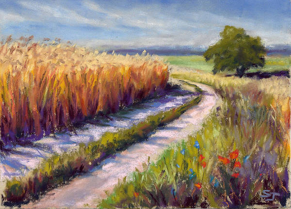 Wheat Art Print featuring the pastel Wheat Field Road by Susan Jenkins