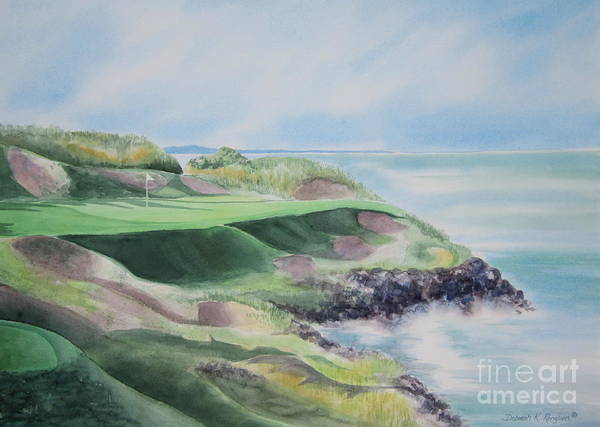Whistling Straits Art Print featuring the painting Whistling Straits 7th Hole by Deborah Ronglien