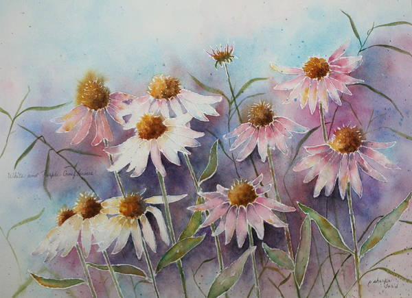 Floral Art Print featuring the painting White And Pink Coneflowers by Patsy Sharpe