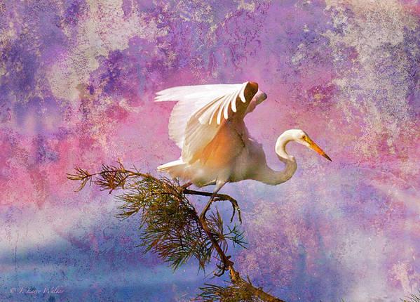 J Larry Walker Art Print featuring the digital art White Lake Swamp Egret by J Larry Walker