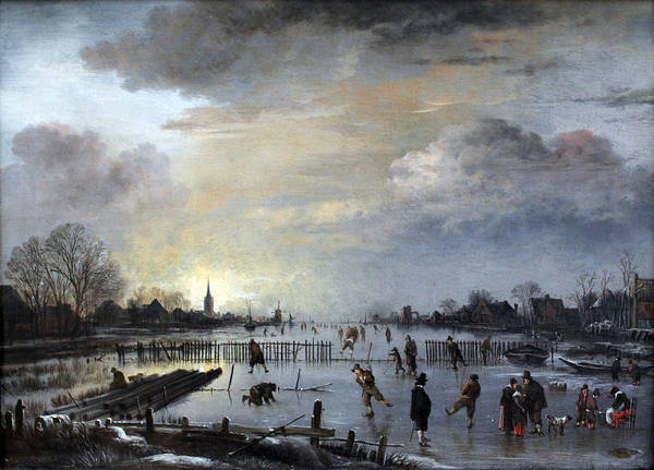 Winter Art Print featuring the painting Winter Landscape With Skaters by Gianfranco Weiss
