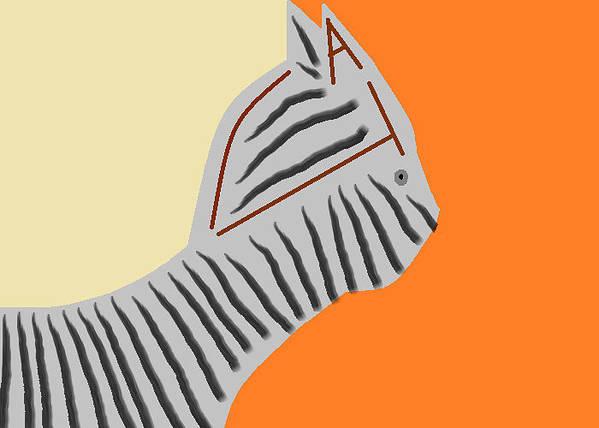 Cat Art Art Print featuring the painting Zebra Cat by Anita Dale Livaditis