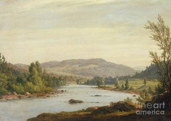 Landscape With River (scene In Northern New York) Art Print featuring the painting Landscape With River by Sanford Robinson Gifford