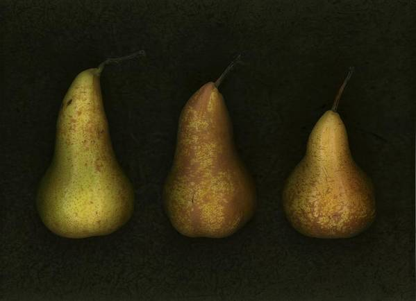 Arranged Art Print featuring the photograph Three Golden Pears by Deddeda