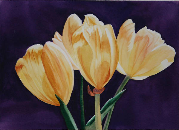 Tiny Tim Tip Toe Through The Tulips Yellow Purple Flower Green Back Light Art Print featuring the painting Tip Toe by Teresa Beyer