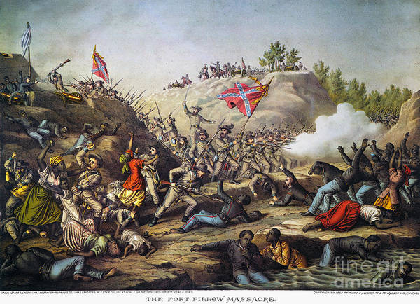 1864 Print featuring the photograph Fort Pillow Massacre, 1864 by Granger