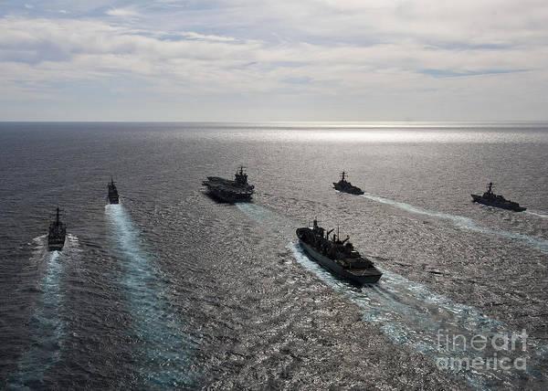 Atlantic Ocean Art Print featuring the photograph The Enterprise Carrier Strike Group by Stocktrek Images