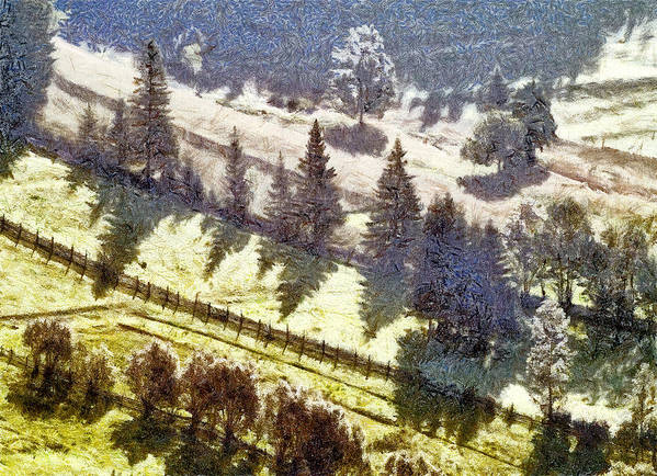 Nature Art Print featuring the painting Transylvania Landscape by Odon Czintos