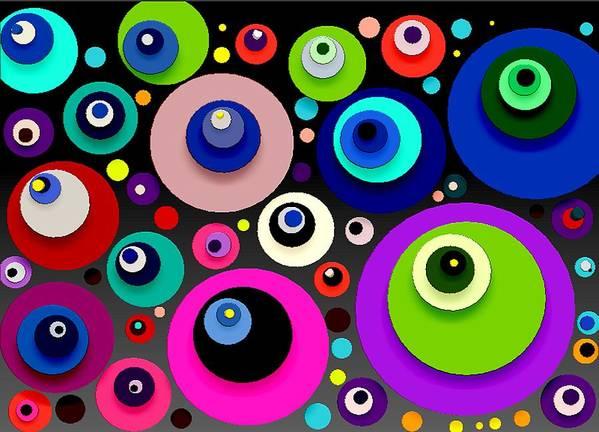 Abstract Art Print featuring the digital art Shapes by Bogdan Floridana Oana