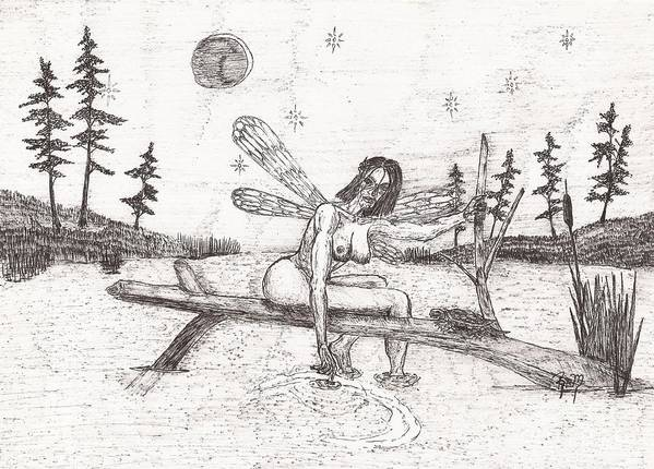 Fairy Art Print featuring the drawing A Moment With The Moon... - Sketch by Robert Meszaros