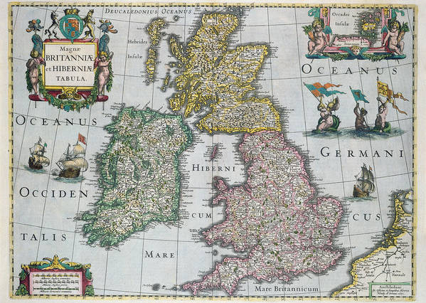 Maps Art Print featuring the drawing Antique Map Of Britain by English School