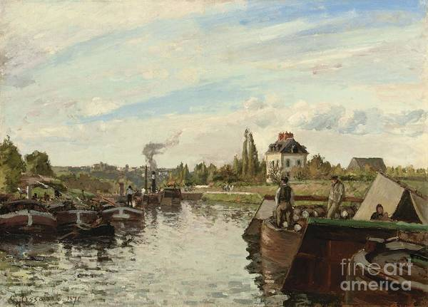 Barge On The Seine At Bougival Art Print featuring the painting Barge On The Seine At Bougival by Camille Pissarro