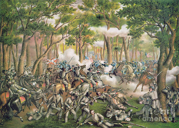 Troops; Soldiers; Army; Engagement; Woodland; Rural; Cavalry; Horseback; U S; U S A; Forces; Engaging; Gunfire; Fallen; Wounded Art Print featuring the painting Battle Of The Wilderness May 1864 by American School