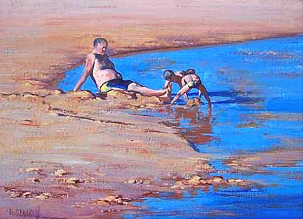 Beach Art Print featuring the painting Beach Play by Graham Gercken