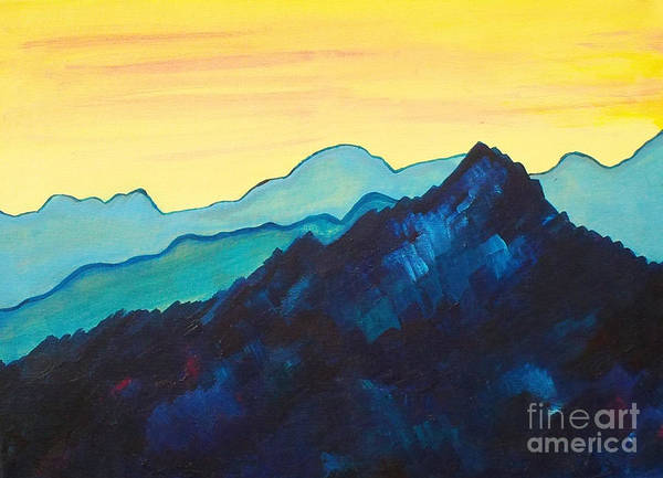 Landscape Art Print featuring the painting Blue Mountain II by Silvie Kendall