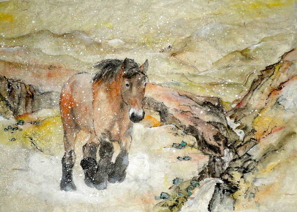 Equine. Draft. Landscape. Art Print featuring the painting Brabrant On The Move by Debbi Saccomanno Chan