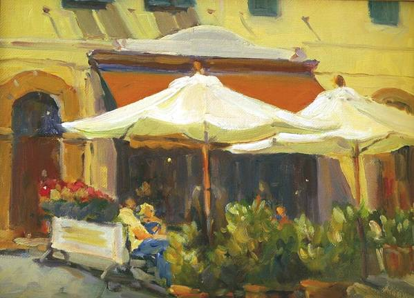 Italy Montecito Cafe Umbrellas Pleinaire Plein Air Landscape In Itally Art Print featuring the painting Cafe In Montecito by Elizabeth Taft