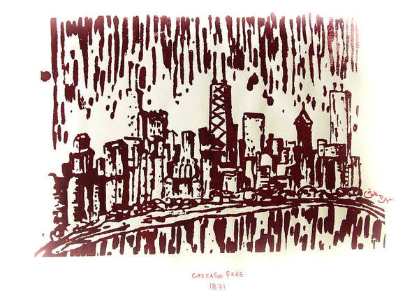 Chicago Art Print featuring the painting Chicago Great Fire Of 1871 Serigraph Of Skyline Buildings Sears Tower Lake Michigan John Hancock by M Zimmerman