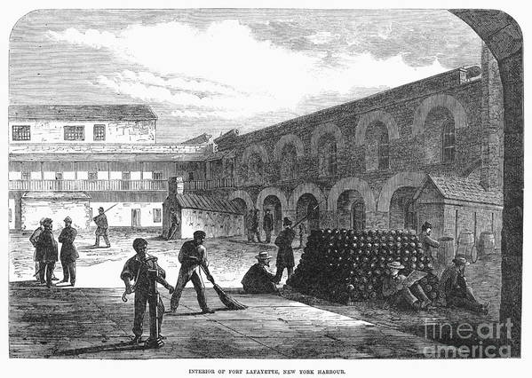 1865 Print featuring the photograph Civil War: New York Fort by Granger