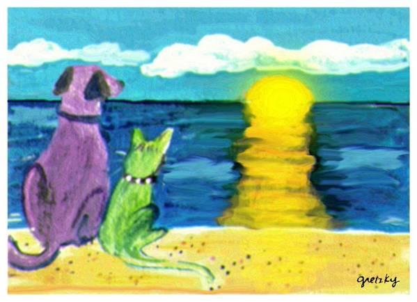 Gretzky Art Print featuring the painting Dog And Cat Sunset by Paintings by Gretzky