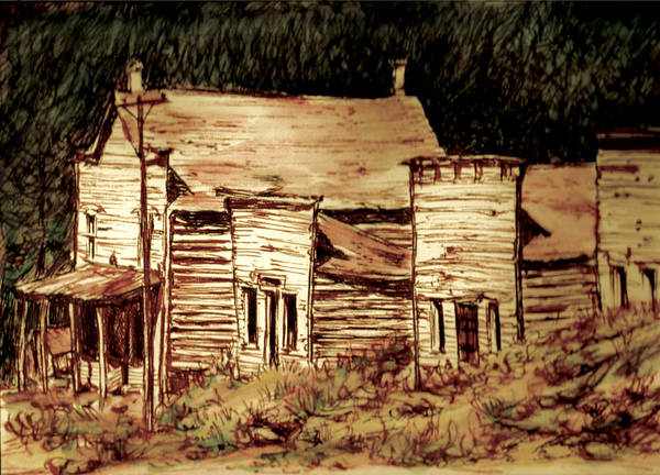 Art Print featuring the painting Elkhorn Montana by Kitty Meekins