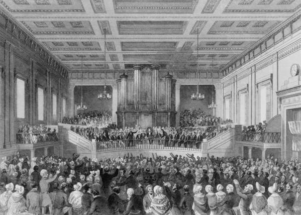 History Art Print featuring the photograph Exeter Hall Filled With A Large Crowd by Everett