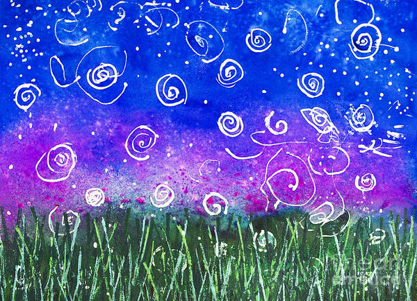 Fire Flies Art Print featuring the mixed media Fireflies by Pre-Kindergarten