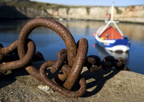 Chained Print featuring the photograph Harbour With Mooring And Fishing Boat by John Short