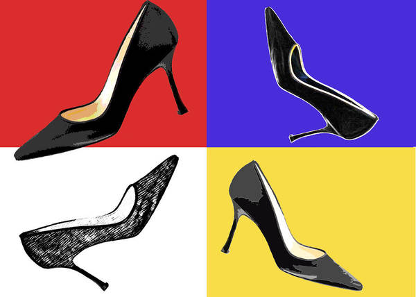 Shoes Heels Pumps Fashion Designer Feet Foot Shoe Art Print featuring the painting Homage To Mondrian by Elaine Plesser
