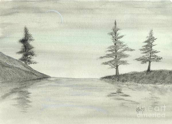 Landscape Art Print featuring the painting Just Under The Moon by Robert Meszaros