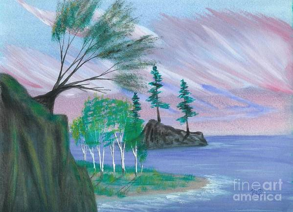 Lake Art Print featuring the painting Lakeside Symphony by Robert Meszaros