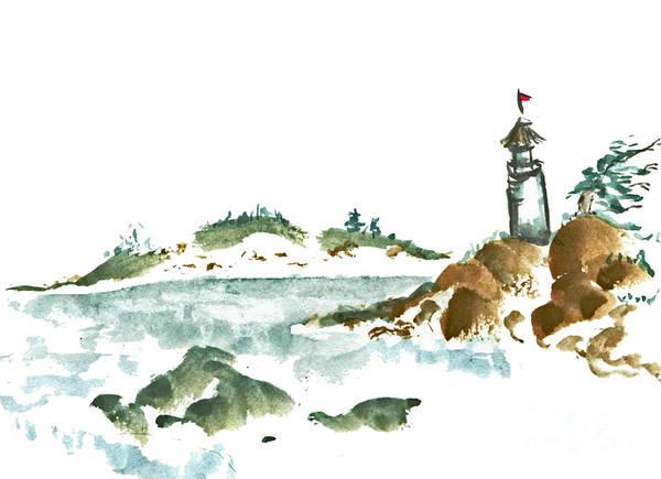 Body-spirit Art Print featuring the painting Lighthouse by Ellen Miffitt