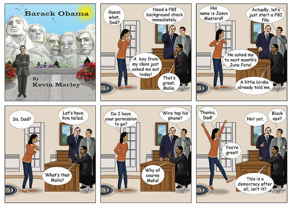 Barack Obama Art Print featuring the digital art Malia Going On Her First Date by Kevin Marley