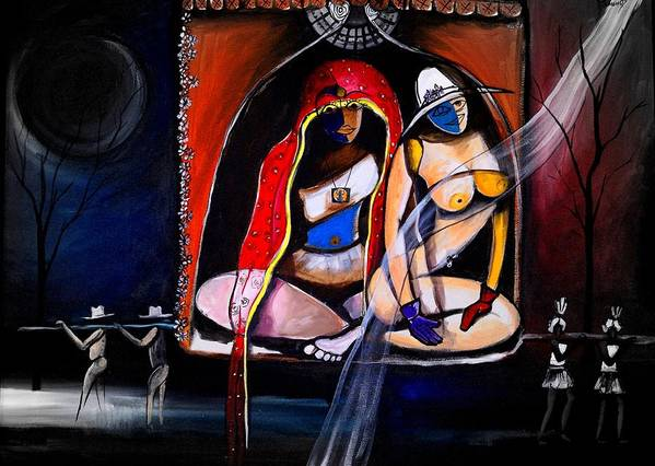 Gay And Lesbian Art Print featuring the painting Married by Real ARTIST SINGH