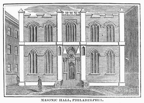 1830 Art Print featuring the photograph Masonic Hall, C1830 by Granger