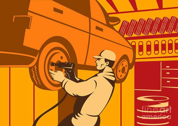 Illustration Print featuring the digital art Mechanic Automotive Repairman Retro by Aloysius Patrimonio