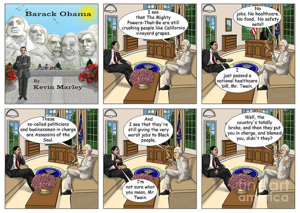 Barack Obama Art Print featuring the digital art Meeting Mark Twain II by Kevin Marley