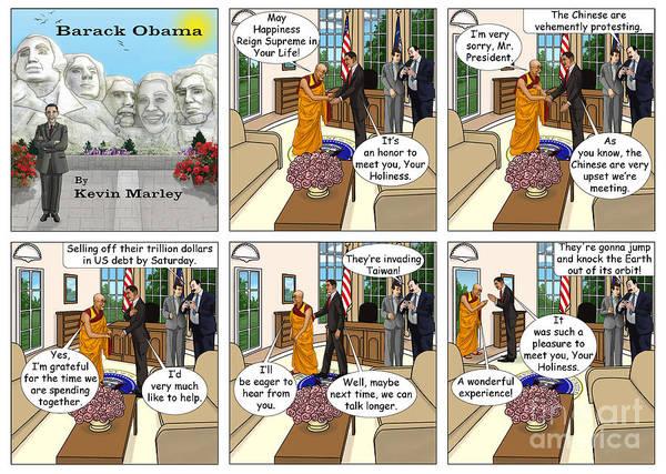 Barack Obama Art Print featuring the digital art Meeting The Dalia Lama by Kevin Marley