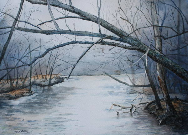 River Print featuring the painting Misty Morning On The Red River by Patsy Sharpe