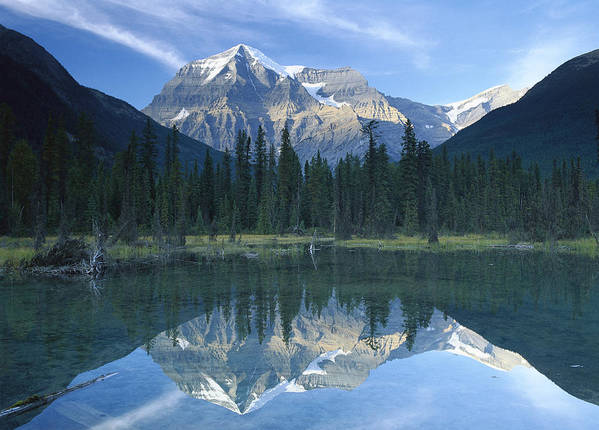 00172870 Print featuring the photograph Mt Robson Highest Peak In The Canadian by Tim Fitzharris