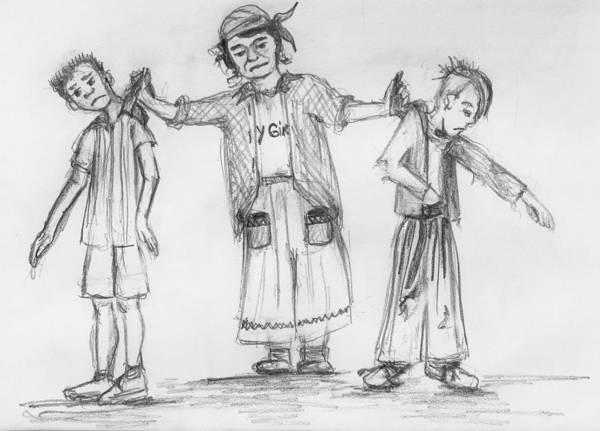 Madison Morgan Art Print featuring the drawing Netta Catches Culprits by Carol Allen Anfinsen