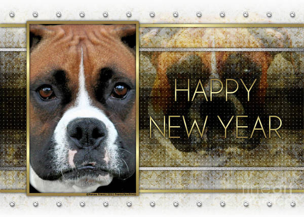 Boxer Art Print featuring the digital art New Year - Golden Elegance Boxer by Renae Laughner