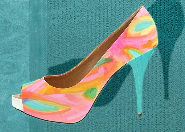 Shoes Heels Pumps Fashion Designer Feet Foot Shoe Art Print featuring the painting Painted Leather Platform Pumps by Elaine Plesser